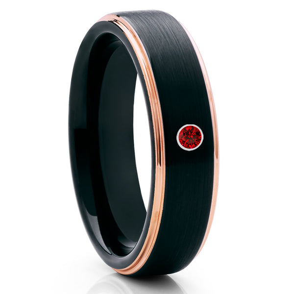 Black Tungsten Wedding Band - Ruby Tungsten Ring - Rose Gold Tungsten - Clean Casting Jewelry