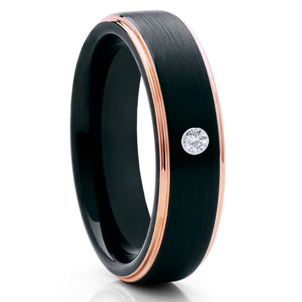Black Tungsten Wedding Band - White Diamond Tungsten Ring - Rose Gold - Clean Casting Jewelry