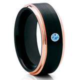 Black Tungsten Wedding Band - Aquamarine Ring - Rose Gold Tungsten Ring - Clean Casting Jewelry