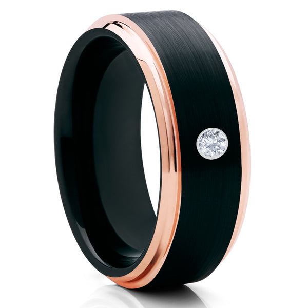 Black Tungsten Ring - Rose Gold Tungsten - White Diamond Ring - Black - Clean Casting Jewelry