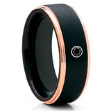 Black Tungsten Wedding Band - Black Diamond Ring - Black Tungsten Ring - Brush - Clean Casting Jewelry