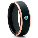 Black Tungsten Wedding Band - Blue Diamond Ring - Rose Gold - Black Ring - Clean Casting Jewelry