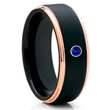 Rose Gold Tungsten - Blue Sapphire Ring - Black Tungsten Wedding Band - Clean Casting Jewelry
