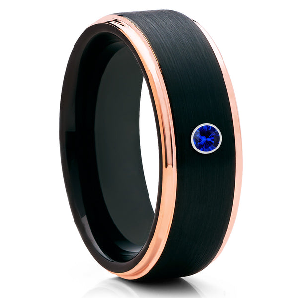Blue Sapphire Rose Gold Tungsten Ring Brushed Tungsten Band Comfort Fit Ring