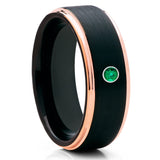 Rose Gold Tungsten Ring - Black Tungsten Band - Emerald Ring - Brush - Clean Casting Jewelry