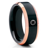 Black Diamond Tungsten Ring,Men's Wedding Band,Shiny Polish,Rose Gold Band