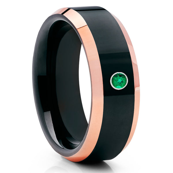 Black Tungsten Ring - Emerald Tungsten Ring - Shiny Polish - Rose Gold Ring - Clean Casting Jewelry