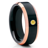 Black Tungsten Ring - Yellow Sapphire Tungsten Ring - Rose Gold Tungsten - Clean Casting Jewelry