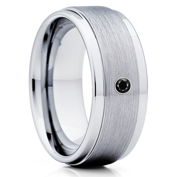 Black Diamond Tungsten Ring - Silver Tungsten - Men's Tungsten Band - Brush - Clean Casting Jewelry