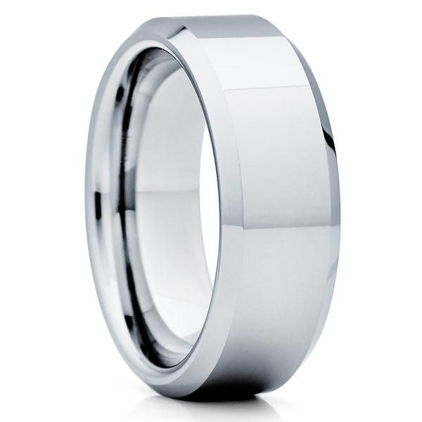 Shiny Polish,Tungsten Wedding Band,Beveled Tungsten,Unique Tungsten Ring