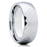 Tungsten Wedding Band - Silver Tungsten - Faceted - Tungsten Wedding Ring - Clean Casting Jewelry