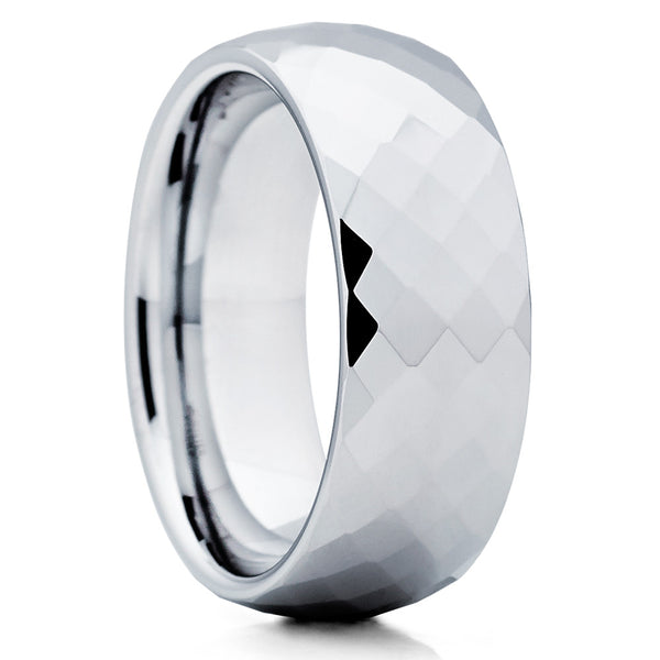 Silver Tungsten Wedding Band,Faceted Surface,Tungsten Ring,Tungsten Ring