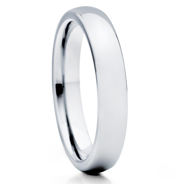 4mm Tungsten Wedding Band - Silver - Tungsten Wedding Ring Dome - Clean Casting Jewelry