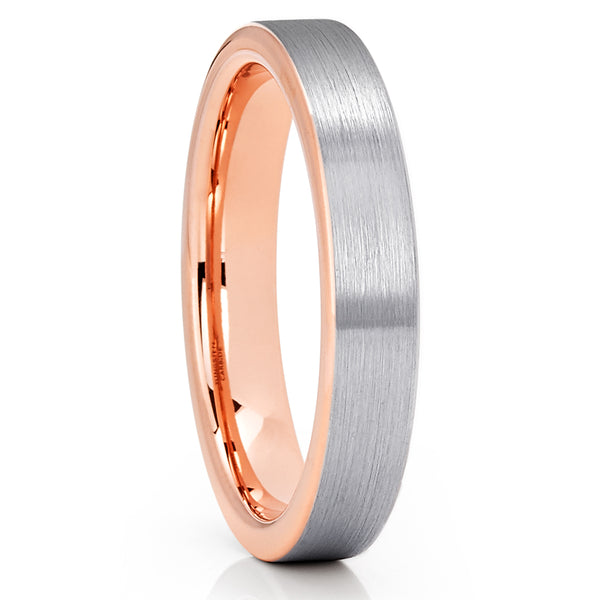 4mm Tungsten Ring - Rose Gold Tungsten Ring - Gray Tungsten - Comfort Fit - Clean Casting Jewelry