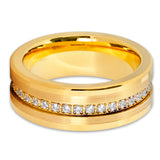 Yellow Gold Tungsten Wedding Band - 8mm - Yellow Gold Ring - Tungsten Ring - Clean Casting Jewelry