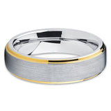 Gray Wedding Band - Tungsten Wedding Band - Yellow Gold Tungsten - Brush - Clean Casting Jewelry