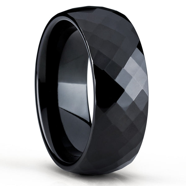 Black Tungsten Ring - Faceted Design - Black Tungsten Ring - Black Ring - Clean Casting Jewelry
