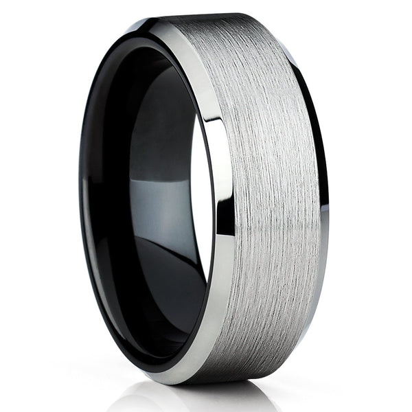 Black Tungsten Wedding Band - Tungsten Carbide Ring - Brushed - Silver - Clean Casting Jewelry