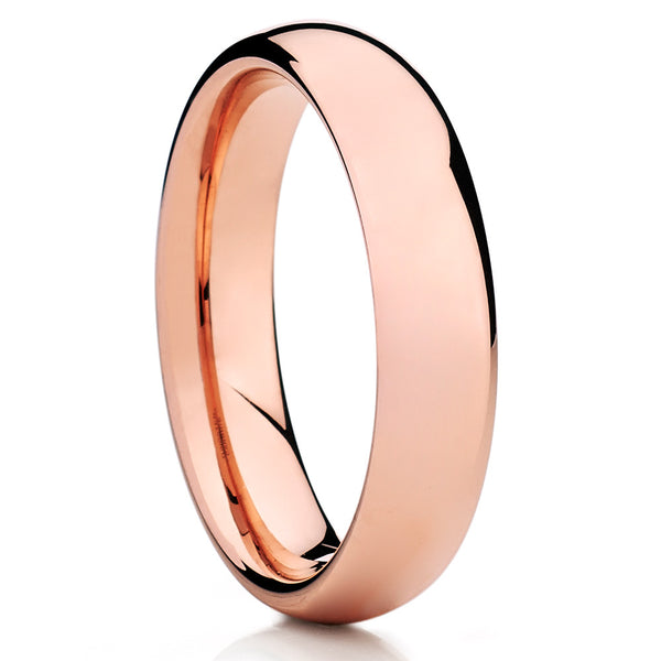 Rose Gold Tungsten Wedding Band - Dome Tungsten Ring - Rose Gold Tungsten - Clean Casting Jewelry