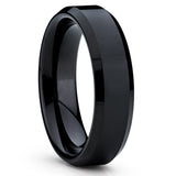 Black Tungsten Wedding Band - Shiny Polish - Black Tungsten Ring Handmade