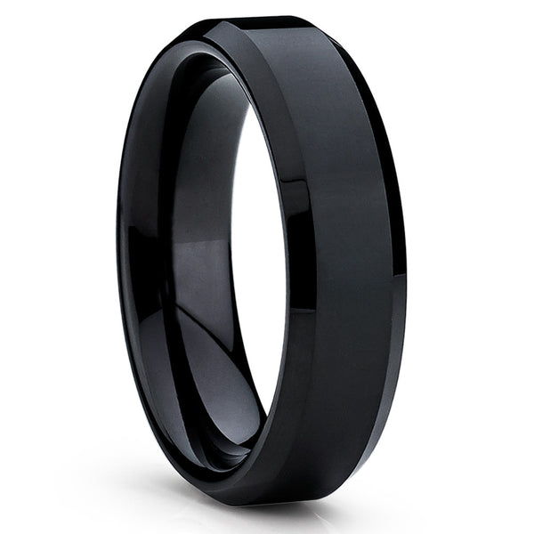 Black Tungsten Wedding Band - Shiny Polish - Black Tungsten Ring Handmade - Clean Casting Jewelry