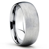 Gray Tungsten Wedding Band - Dome Tungsten Ring - Silver Tungsten Ring - Clean Casting Jewelry