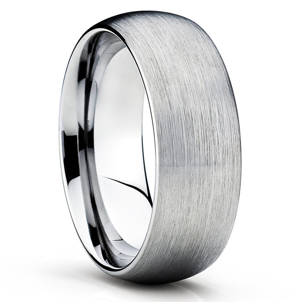 Silver Tungsten Ring,8mm,Brushed Tungsten Ring,Tungsten Wedding Band,Dome