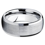 8mm,Beveled Edges,Tungsten Wedding Band,Silver,Men's Tungsten,Handmade