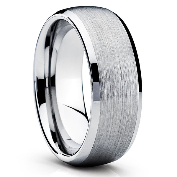 8mm - Tungsten Wedding Band - Gray Tungsten Ring - Silver Tungsten - Clean Casting Jewelry