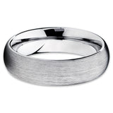 Silver Brushed Tungsten,Tungsten Wedding Band,Dome,Tungsten Ring,Comfort Fit,Unique