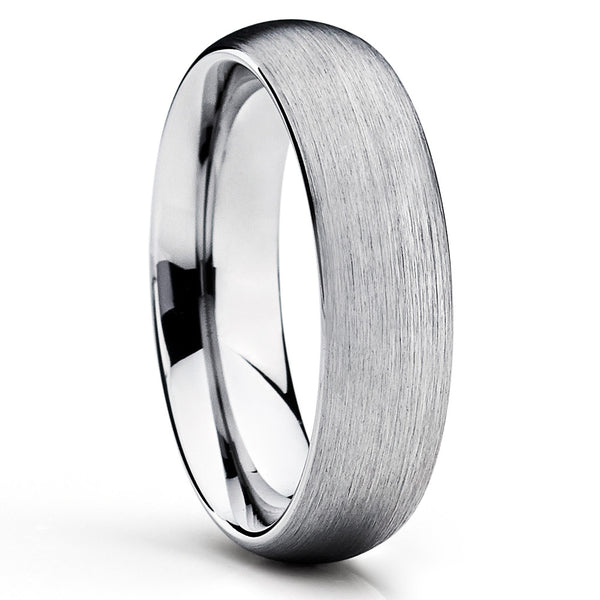 Silver Tungsten Wedding Band - Dome Ring - Tungsten Wedding Ring Unique