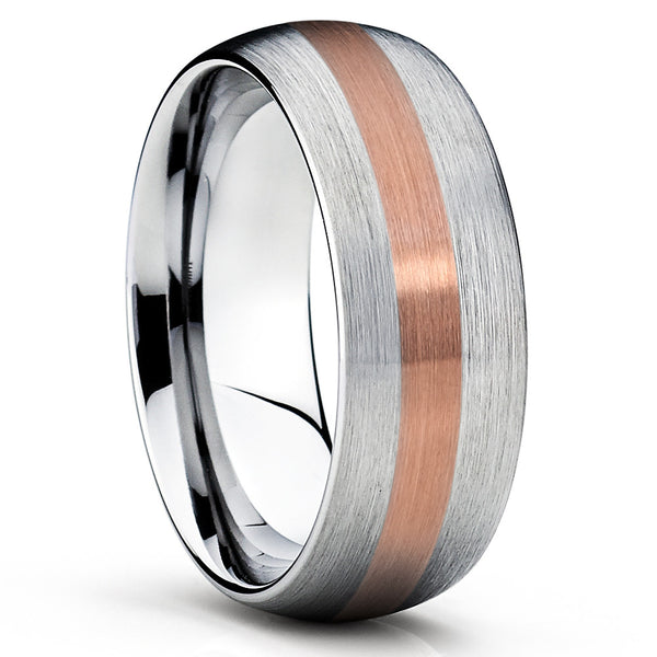 Titanium Wedding Band - Men's Wedding Band - 14K Rose Gold - Brush - Clean Casting Jewelry