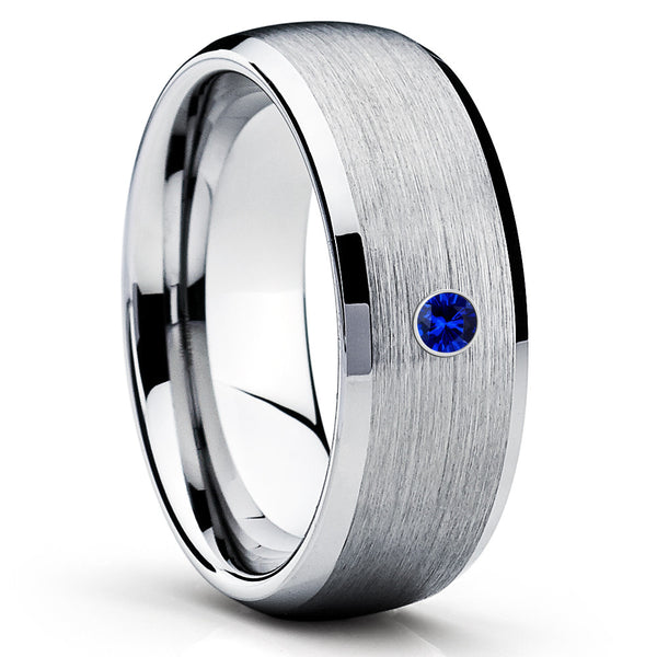 Silver Tungsten Wedding Band - Blue Sapphire Tungsten Ring - 8mm - Brush - Clean Casting Jewelry