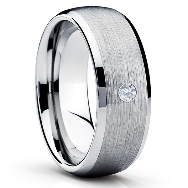 Tungsten Wedding Band - Silver Tungsten - White Diamond Ring - 8mm - Clean Casting Jewelry