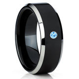 Aquamarine Tungsten Ring,Aquamarine Wedding Band,Black Tungsten Ring,8mm