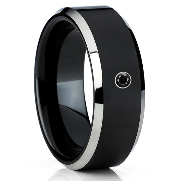 Black Tungsten Wedding Band - Black Diamond Ring - Black Tungsten Ring - Clean Casting Jewelry