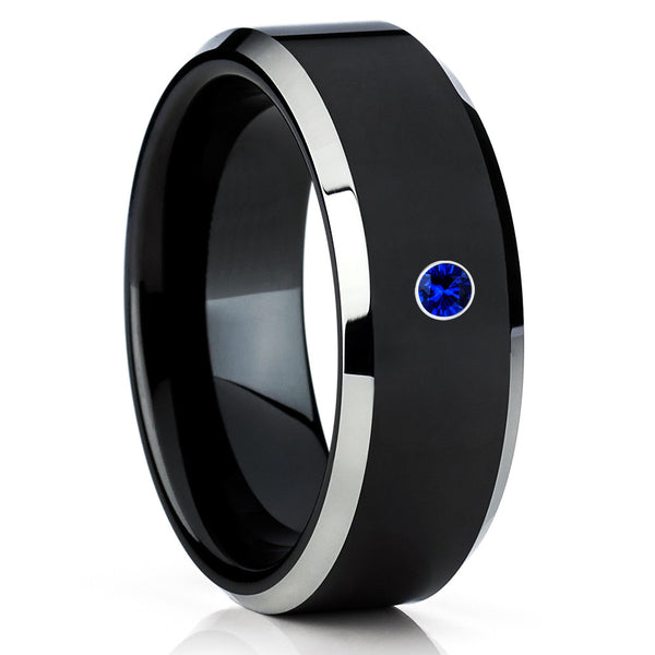 Black Tungsten Wedding Band - Blue Sapphire Ring - Black Tungsten Ring - Clean Casting Jewelry