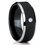 Black Tungsten Ring - White Diamond Tungsten Ring - Black Tungsten Band - Clean Casting Jewelry
