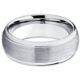 Tungsten Wedding Band - Silver Tungsten Ring - Dome Tungsten Ring - Brush - Clean Casting Jewelry