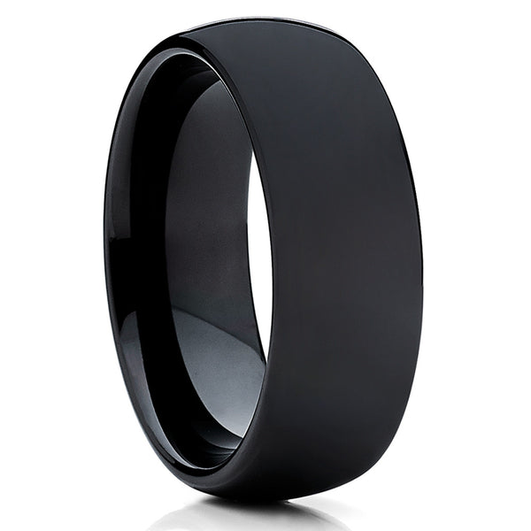 Polished Tungsten Wedding Band - Black Ring - Tungsten Wedding Ring Unique