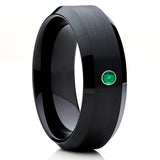 Black,Brushed,Emerald Tungsten Ring,Black Tungsten Ring,Handmade,Unique Ring