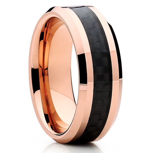 Rose Gold Tungsten Ring - Carbon Fiber Ring - Men's Wedding Band - Clean Casting Jewelry