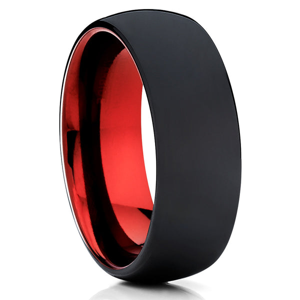 Red Tungsten Ring - Tungsten Wedding Ring - Matte Polish Ring - Men's Ring - Clean Casting Jewelry