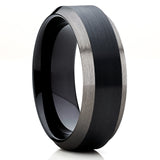 Gunmetal Tungsten Ring,8mm & 6mm,Black Tungsten Ring,Beveled Edges,Black Ring