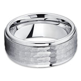 9mm Tungsten Wedding Band - Hammered Tungsten Ring - Tungsten Carbide Silver - Clean Casting Jewelry