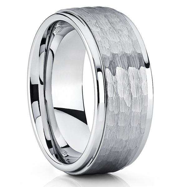 9mm,Men's Tungsten Ring,Silver Brushed,Handmade,Tungsten Ring,Hammered