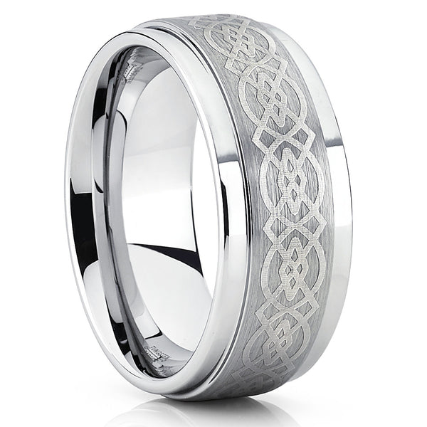 Silver Tungsten Wedding Band - Celtic Ring - Tungsten Wedding Ring - Clean Casting Jewelry