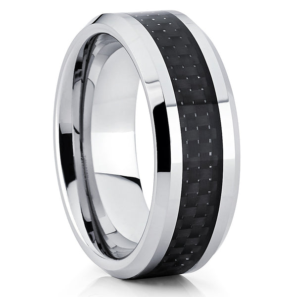 Tungsten Wedding Band - Carbon Fiber Ring - Black - Tungsten Wedding Ring - Clean Casting Jewelry