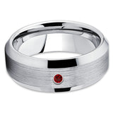Ruby Tungsten Ring - Handmade - Tungsten Wedding Band - Men's Ring - Clean Casting Jewelry