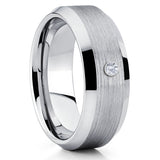 Silver Tungsten Ring - White Diamond Tungsten Ring - Silver Tungsten Band - Clean Casting Jewelry
